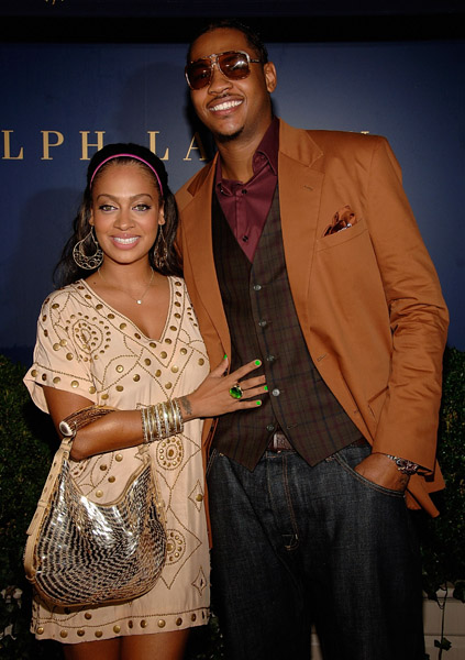Carmelo Anthony and Lala Vasquez at a Party for Lebron James Family Foundation