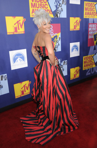 Artist Pink on MTV's VMA Red Carpet