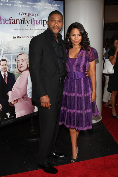 Tyler Perry and Sanaa Lathan at Movie Premiere