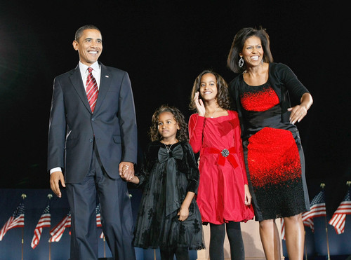 President Barack Obama, Wife Michelle, Daughters Malia and Sasha