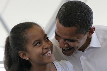 "President Obama and Eldest Daughter Malia Obama Share a Smile ""Ice cream is my favorite food. I can eat ice cream forever. Everybody should like ice cream,"" says Malia in..."