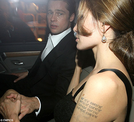 Brad Pitt Tattoo's Angelina Jolie's Birthday On His Stomach.