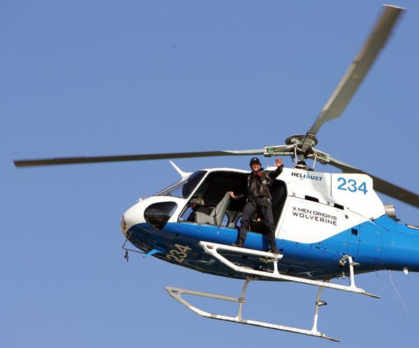 Hugh Jackman's X-Men Helicopter Arrival