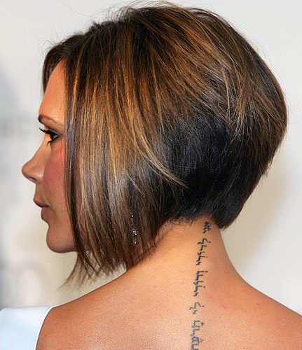 Japanese symbol for Pleasureful Music. Victoria Beckham's Neck Tattoo.