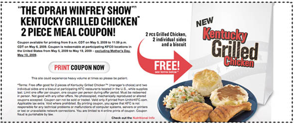 KFC Chicken Coupon on Oprah.com