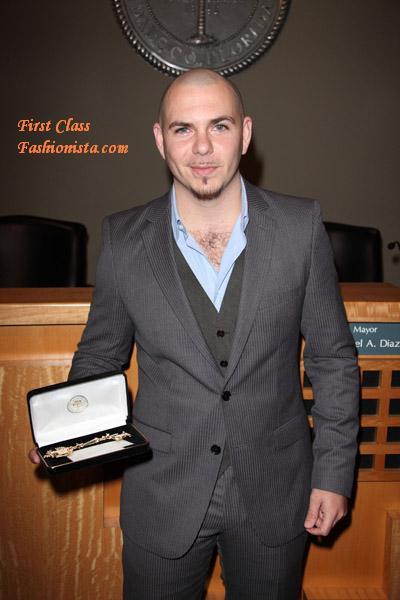 Pitbull receives a key to the City of Miami
