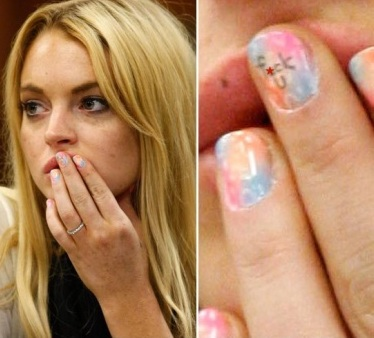 Lindsay Lohan bad word in Nail Polish