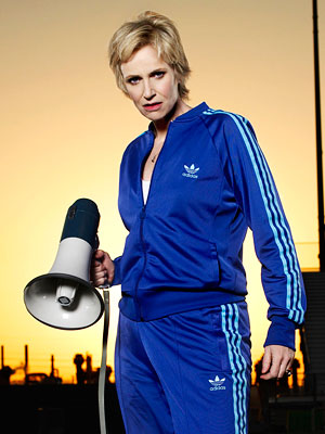 Jane Lynch Sue Sylvester Character in Her Tracksuit