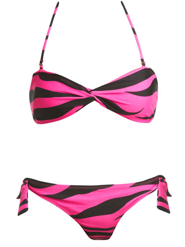 Pink and Black Bikini