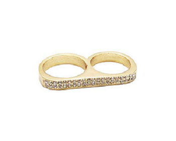 Cosmo Sparkle Twosome ring with Swarovski crystals
