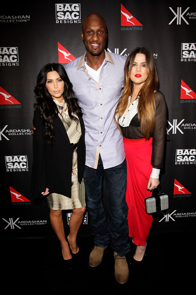 Kim Khloe Kardashian and Lamar Odom at the Kardashian Kollection launch Sydney Australia