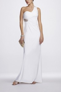 One Shoulder Gown Beaded Back