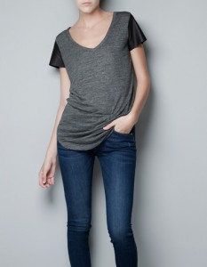 tees with leather sleeves