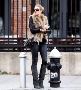 layering leather and fur