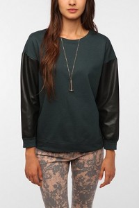 urban outfitters shirt with leather sleeves