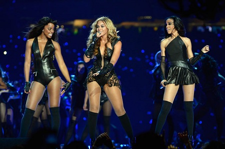 Beyonces Super Bowl Leather and Lace Bodysuit