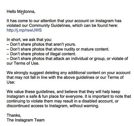 madonna instagram violation