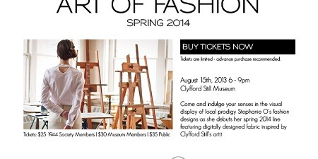 Art on the walls of a museum becomes fashion! On Thursday, August 15, 2013, Denver designer Stephanie Ohnmacht and Clyfford Still Museum will present Still in Fashion. Known for her […]