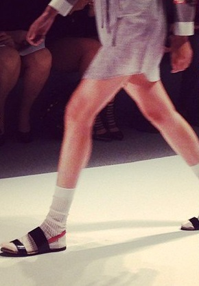 sandals and socks on the runway