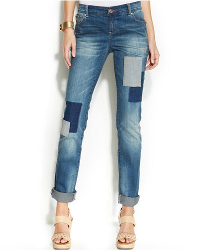 INC International Concepts Patchwork Boyfriend Jeans